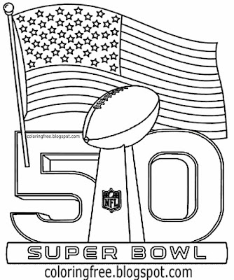 Simple US flag clipart NFL emblem printable American Football coloring book pages for boys sports