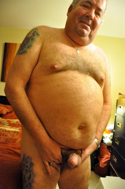 Nude old fat man