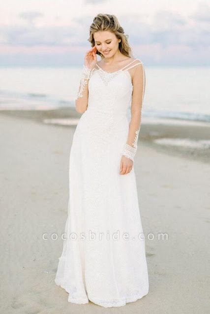 Elegant Long Sleeve Lace Court Train Wedding Dress