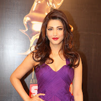 Shruthi at colours awards function in purple dress
