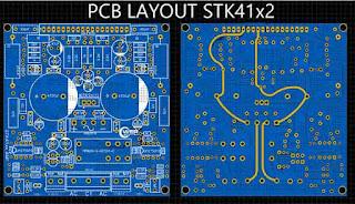 PCB Layout STK4102 II, STK4112 II, STK4122 II, STK4142 II, STK4152 II, STK4162 II, STK4172 II, STK4192 II, STK4182 II, pokok seri STK41x2