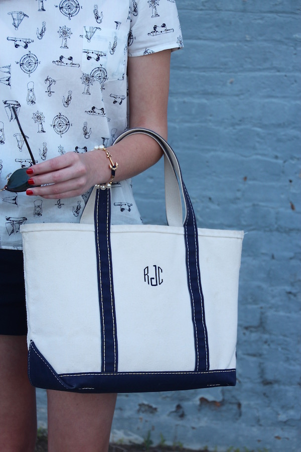 Gimme Glamour: Nautical Navy & White. Nautical Brooks Brothers top, L.L. Bean monogram tote, KJP pearl bracelet. Classic summer look.