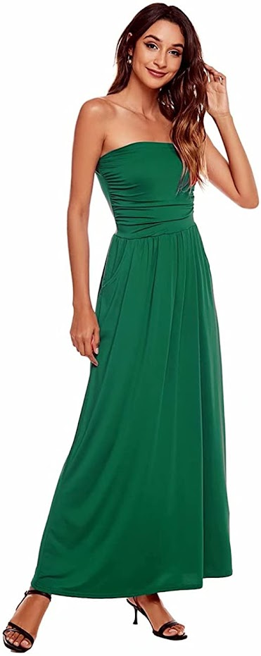 Bright Green Strapless Maxi Dresses