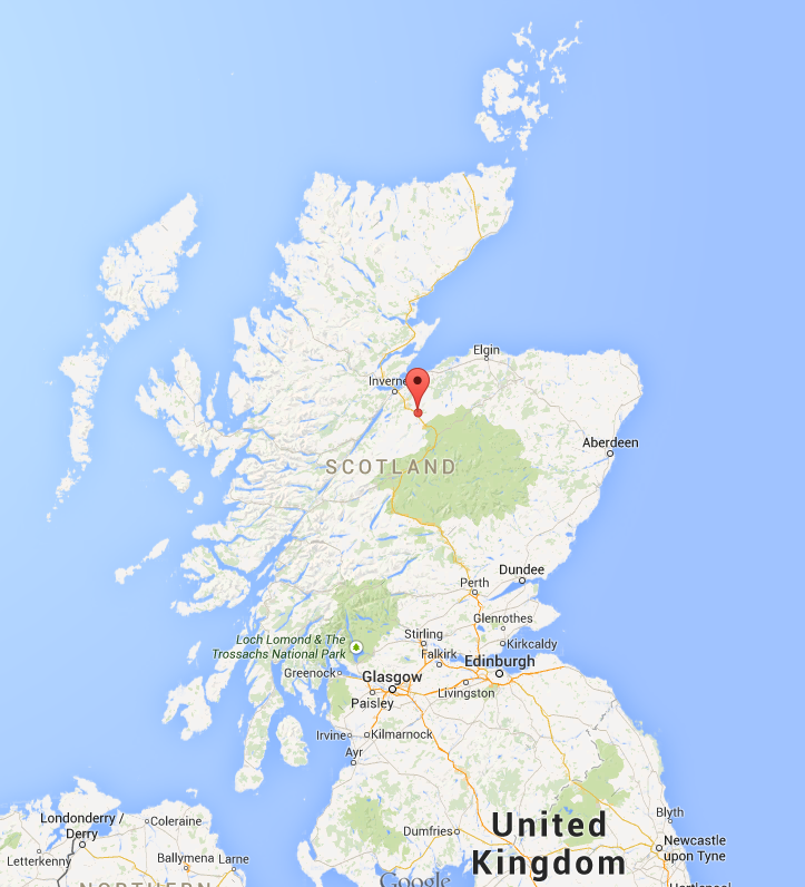 Climbing My Family Tree: Map showing location of Strathdearn, Inverness, Scotland