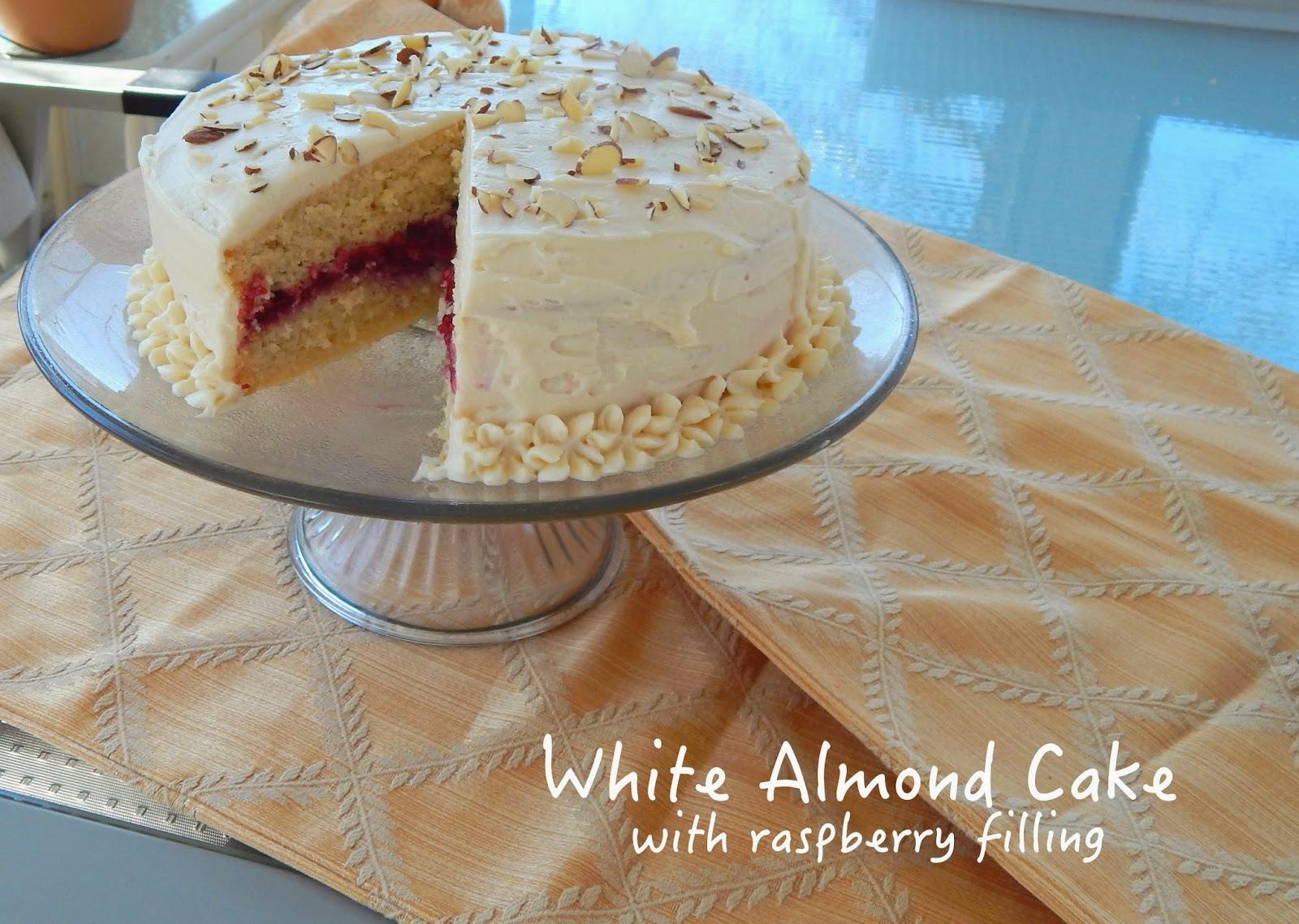 White Almond Cake With Raspberry Filling