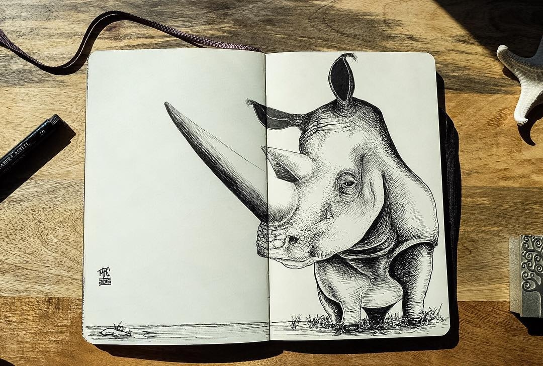 13-Rhino-mrc_artworks-Sketching-Inspirations-on-a-Moleskine-Notebook-www-designstack-co