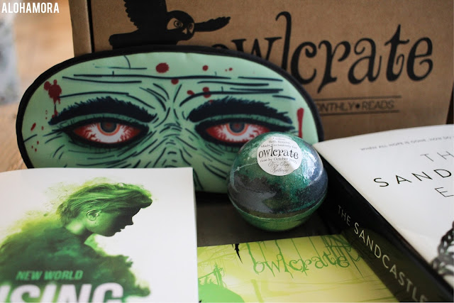 Owlcrate's June 2017 Make It Out Alive YA Literature subscription box had a dystopian theme, 2 books, author's signature, bath bom, magnets, patches, a zombie sleep mask, and more fun. Alohamora Open a Book alohamoraopenabook http://alohamoraopenabook.blogspot.com/