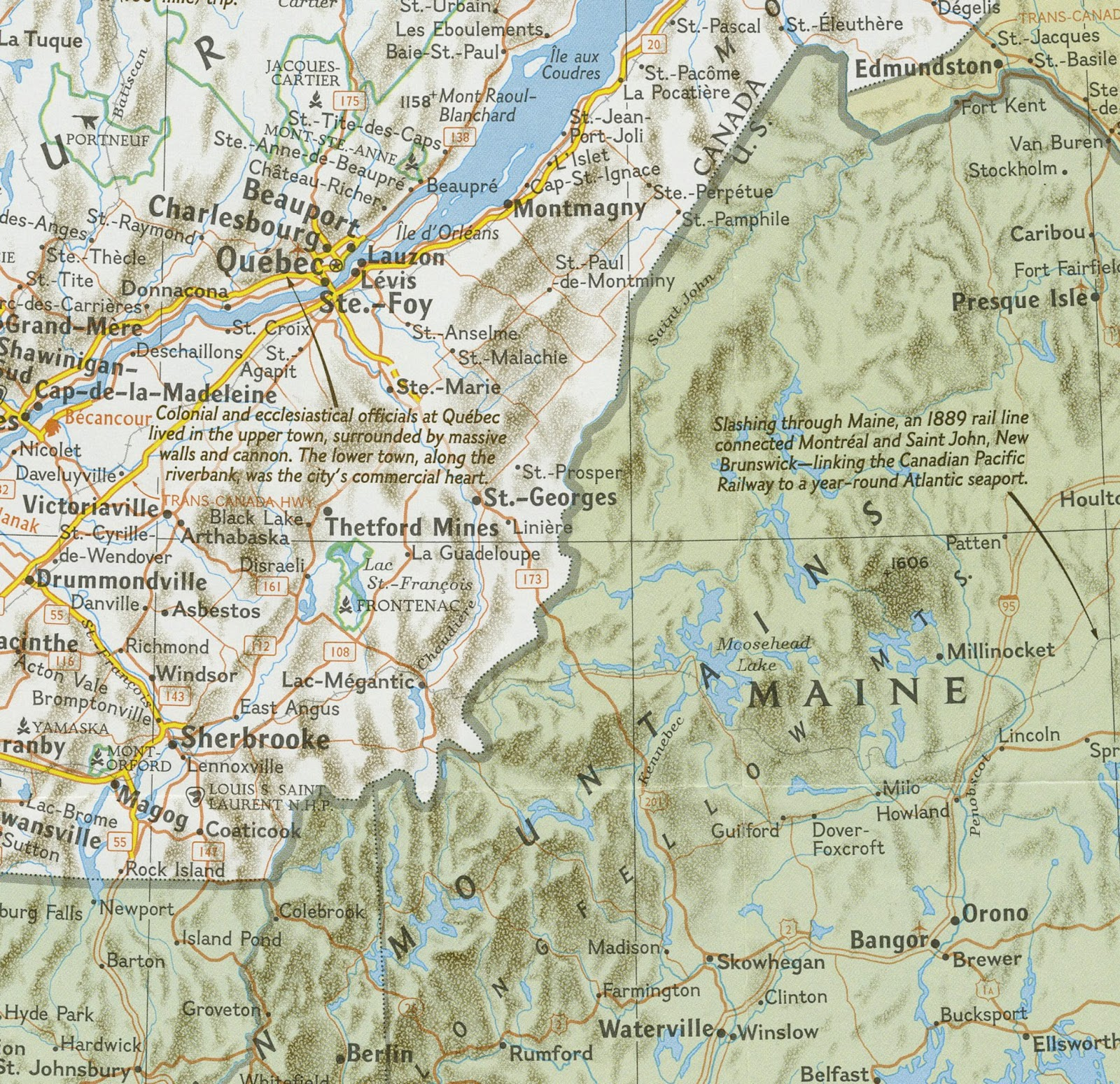 rail lines intersect at lac magantic at the bottom of the map