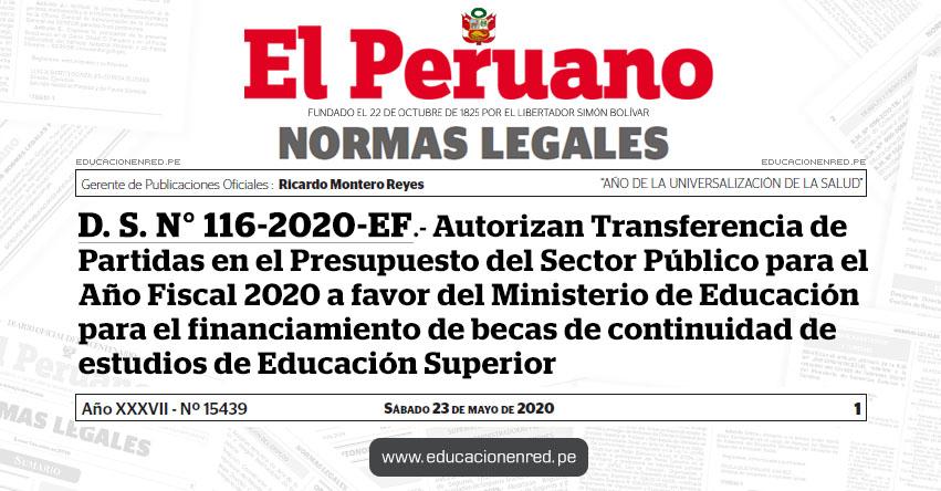 D. S. N° 116-2020-EF.- Autorizan Transferencia de Partidas en el Presupuesto del Sector Público para el Año Fiscal 2020 a favor del Ministerio de Educación para el financiamiento de becas de continuidad de estudios de Educación Superior