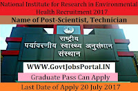 National Institute for Research in Environmental Health Recruitment 2017– Scientist, Technician