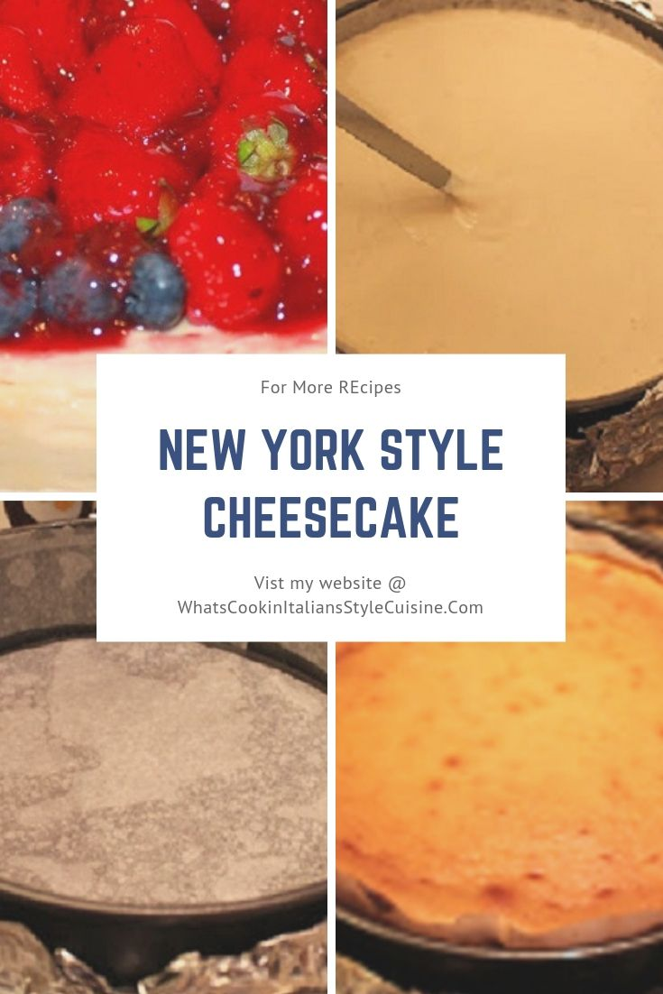 this is a pin for later New York Cheesecake Recipe with 4 photos