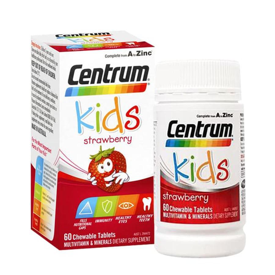 Centrum Kids Strawberry - hộp/60 viên