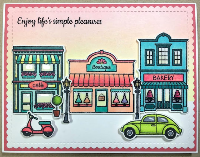 Sunny Studio Stamps: City Streets Scene Card by Vanessa
