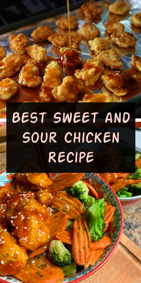 Best Sweet and sour chicken - Skip the take out and make this delicious recipe at home! The sweet and sour sauce is absolutely to die for. Serve with rice and fresh vegetables for the perfect dinner! #easy #recipe #sweet #comfortfood #chicken #dinner