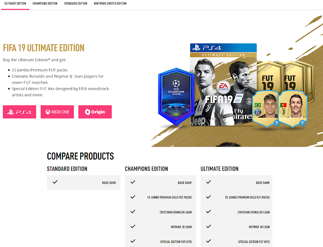FIFA 19 version comparison Ultimate Champions Standard Nintendo Switch Cristiano Ronaldo