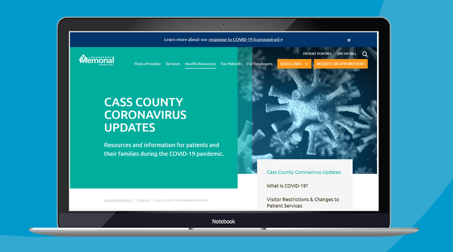 Example of COVID-19 crisis communications website update