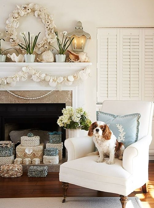 How to Decorate Fireplace Mantel with Seashell Garland