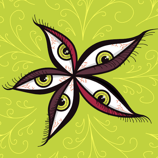 My Grinning Mind: Green Eyes Flower Illustration
