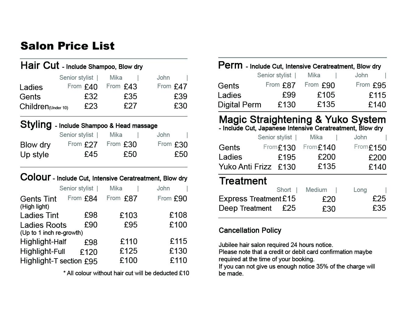 Jubilee Hair Salon Price List