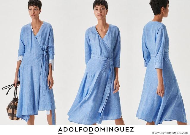 Queen Letizia wore Adolfo Dominguez Blue Midi Linen Wrap Dress