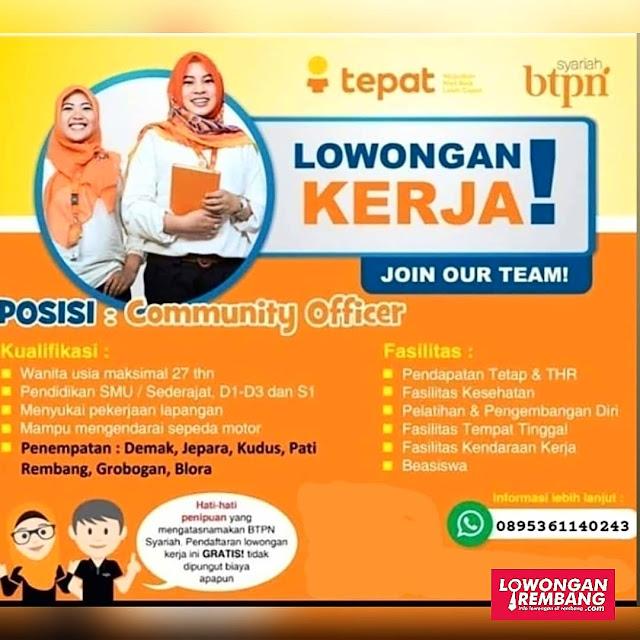 Lowongan Kerja Community Officer Bank BTPN Syariah Rembang Demak Jepara Kudus Pati Grobogan Blora