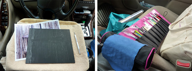 Set up to work on the scratchboard in my car