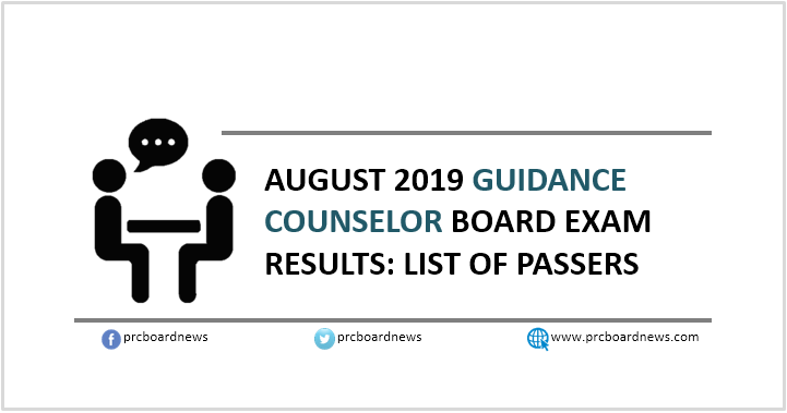 RESULT: August 2019 Guidance Counselor board exam list of passers