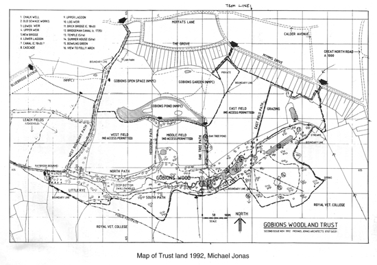 Scan of a drawing of a map of Gobions Woodland Trust land 1992, Michael Jonas