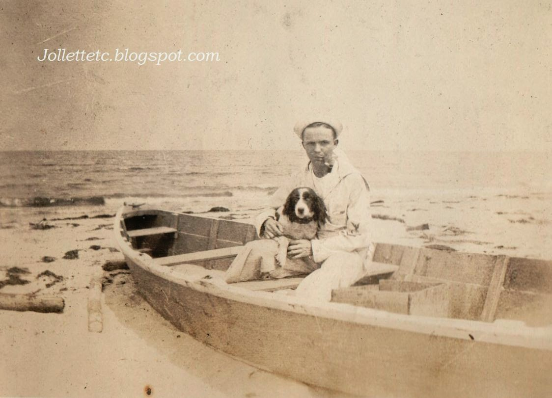 Sailor and dog Ocean View, Virginia 1918-1921 http://jollettetc.blogspot.com