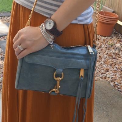 Rebecca Minkoff 2012 sky grey mini MAC bag with ochre maxi skirt   away from blue