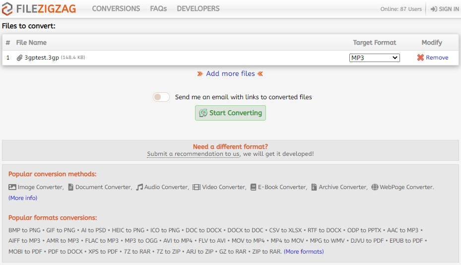 Convert 3GPP to MP3 online without installation - file converter online