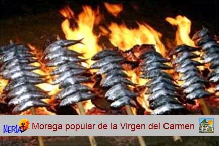 Los miembros de la hermandad de la Virgen del Carmen preparan miles de espetos de sardinas que son degustados por los nerjeños y turistas que acuden a la fiesta.