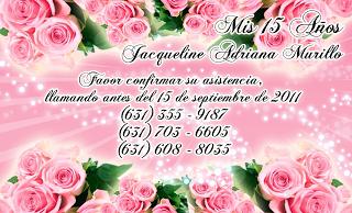 Tarjeta de Confirmación de Invitados para 15 Años novedosa en color rosa con rosas y destellos de luz