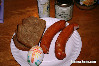 Blessed bread, sausages, horseradish, salt, egg
