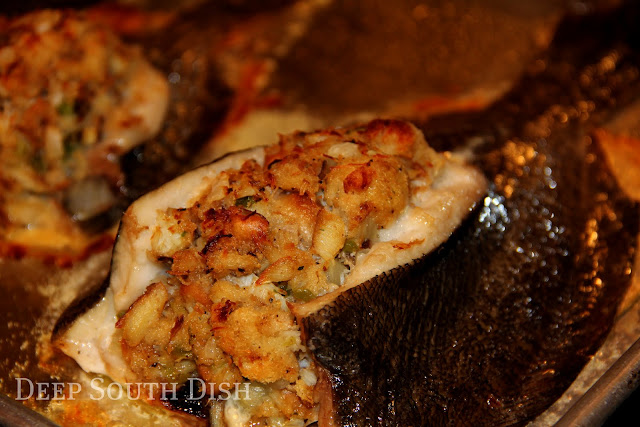 Whole flounder, dressed with a seafood stuffing mix of shrimp and crab.