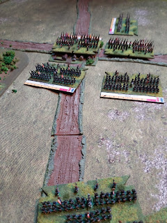 The Allied brigades are pushed back in the French assault