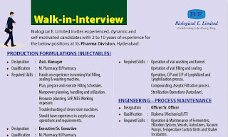 Diploma / ITI/ B.Sc/ M.Pharmacy/ B.Pharmacy Job Vacancy Walk-in-Interview in Biological E. Limited, Pharma Division, Hyderabad