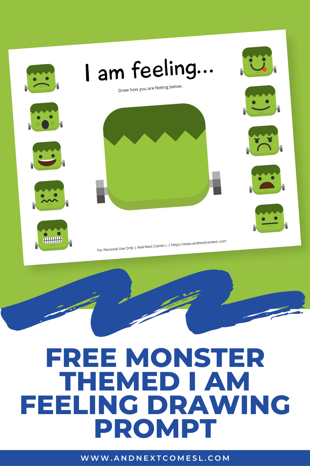 Free printable Halloween emotions activity inspired by Frankenstein's monster. This I am Feeling Drawing prompt is a great way to get kids talking about their emotions.