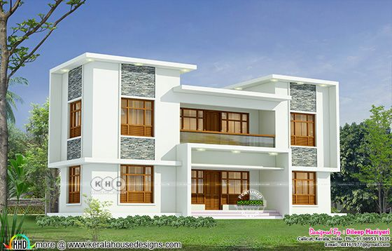 White colour flat roof style house plan
