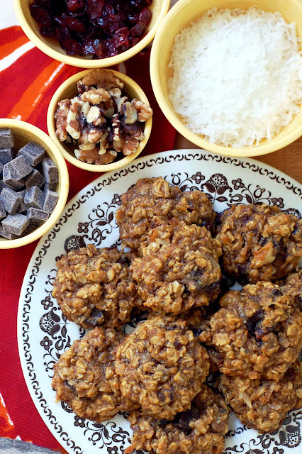pumpkin cookies with oatmeal harvest dark chocolate craisins coconut walnuts