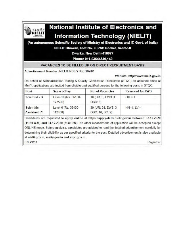 National Institute of Electronics and Information Technology, Delhi Recruitment 2020 Scientist B & Scientific Assistant – 49 Posts Last Date 31-12-2020