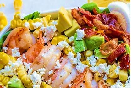 Shrimp Cobb salad + Fresh Lemon-Chive Salad Dressing