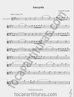 Amapola Partituras en Clave de  Do para Viola y otros instrumentos en Clave de Do en 3º Línea…Bolero