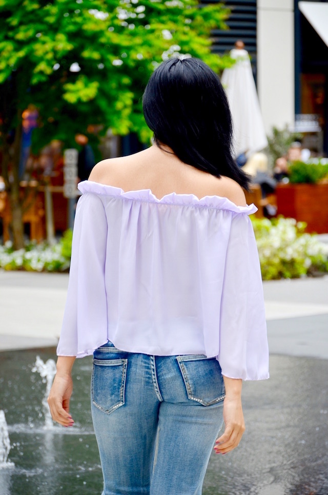 Ruffled Off-The-Shoulder  Blouse-MariEstilo-Ripped Jeans- Purple blouse- SheIn-Look of the day