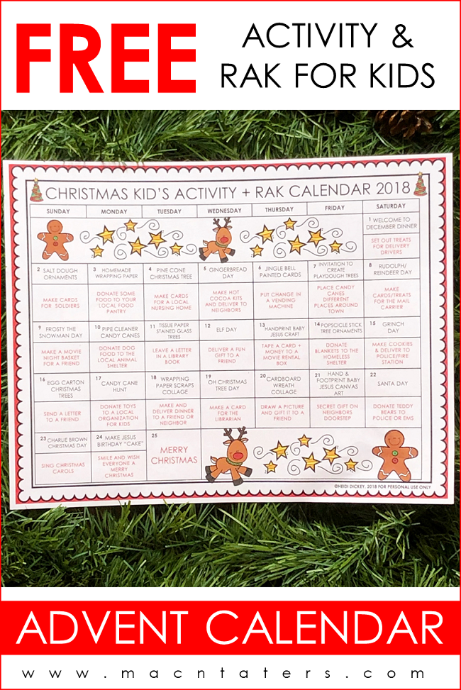 Random Acts of Kindness and Activity Advent Calendar for Kids