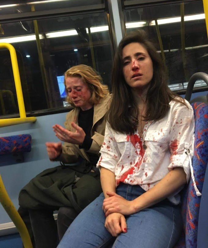 Lesbian couple are brutalized on London bus after they were seen kissing
