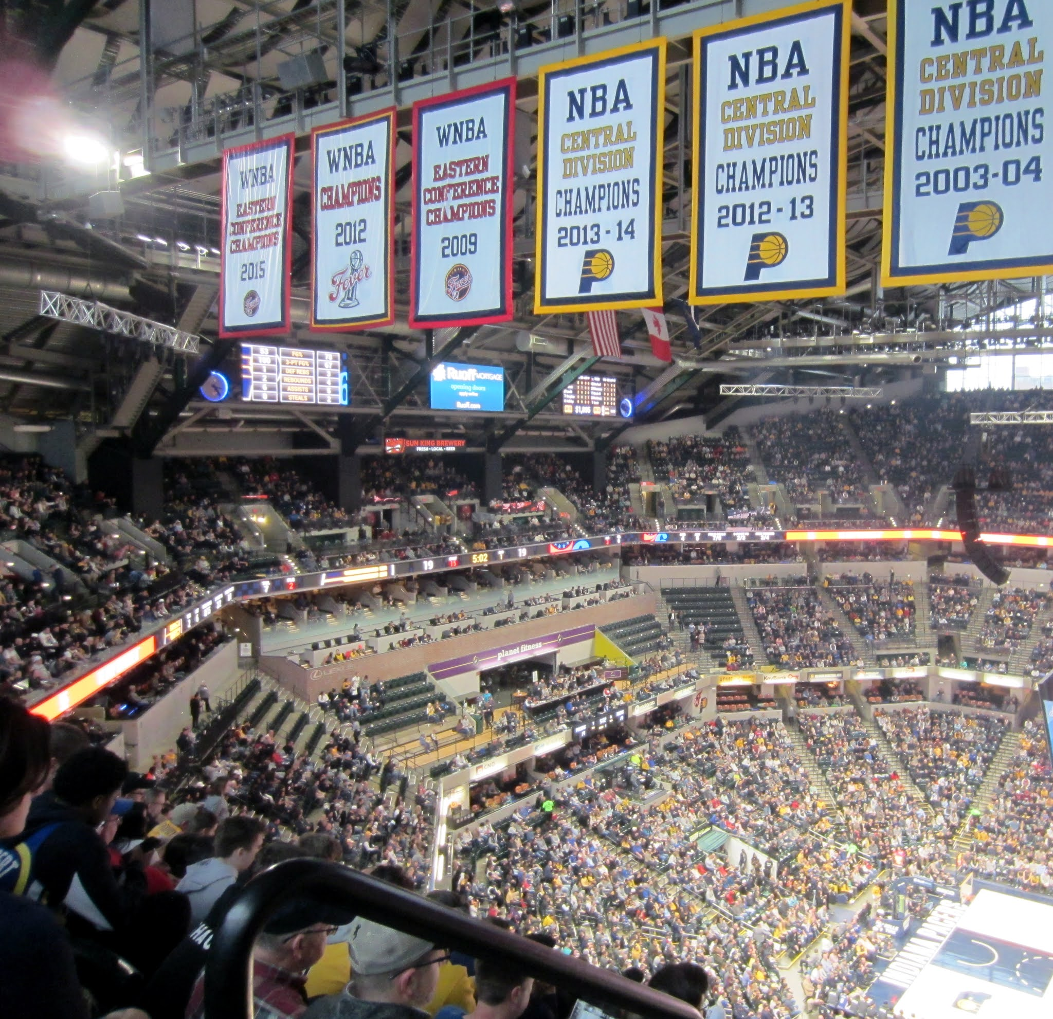 A look towards one of the suites at Bankers Life Fieldhouse