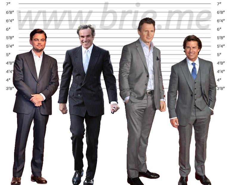 Leonardo DiCaprio, Daniel Day-Lewis, Liam Neeson, and Tom Cruise height comparison