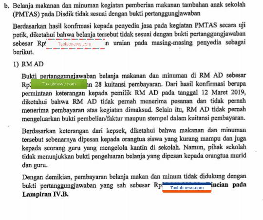 Hasil temuan BPK tahun 2019 atas laporan keuangan Pemko Pematangsiantar.