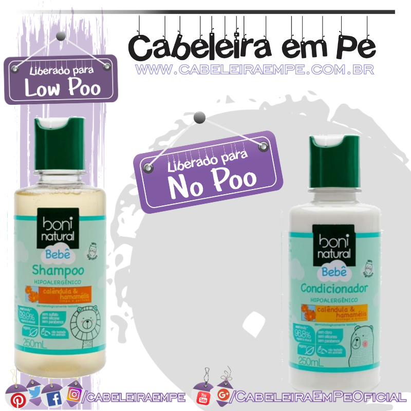 Shampoo (Low Poo) e Condicionador (No Poo e co wash) Bebê - Boni Natural